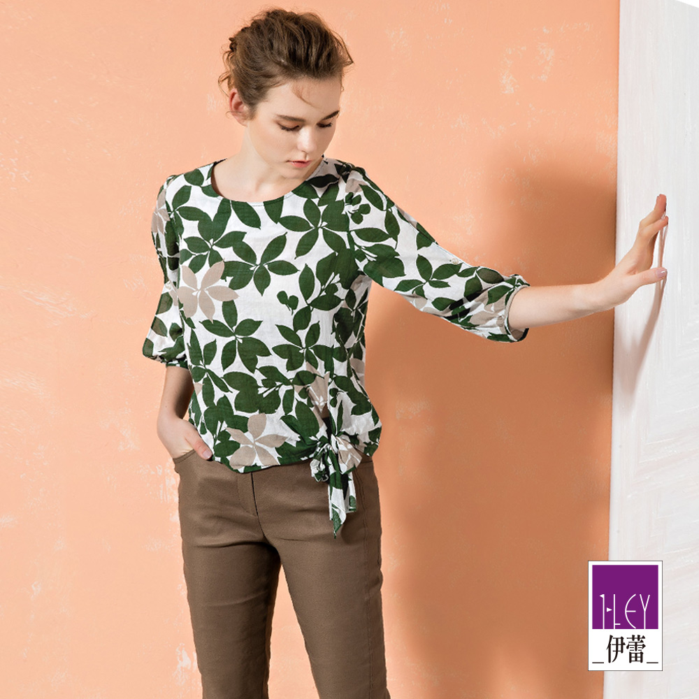 ILEY伊蕾 花草印花純棉造型八分袖上衣(綠)
