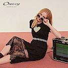 OUWEY歐薇 愛心刺繡拼接繩股蕾絲洋裝(黑)