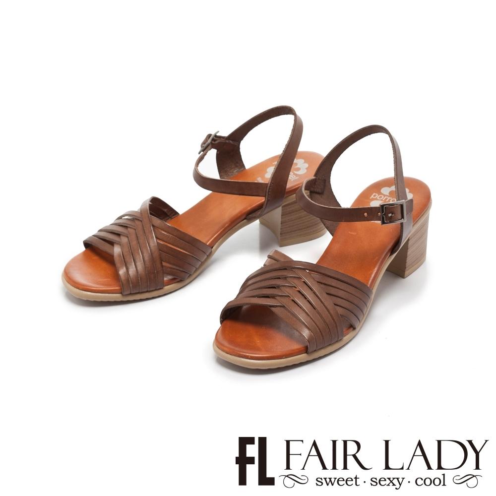 FAIR LADY PORRONET編織皮革繫帶木紋粗跟涼鞋 摩卡