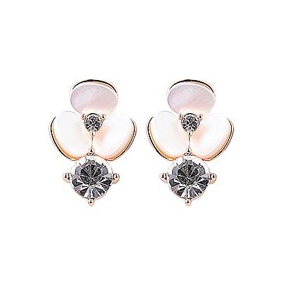 kate spade經典三色堇設計鑽鑲飾穿式耳環(珍珠粉)