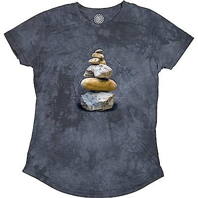 摩達客 美國進口The Mountain都會系列 平衡之石 圓領修身女版短T