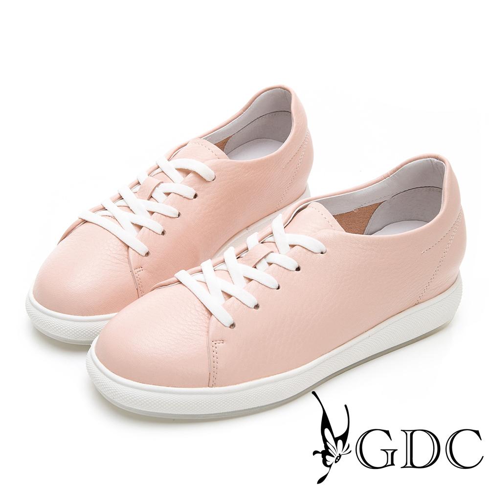 GDC-青春真皮素色馬卡龍百搭綁帶休閒鞋-粉色