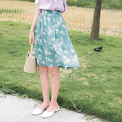 腰頭打褶樹葉滿版印花短圓裙-OB大尺碼