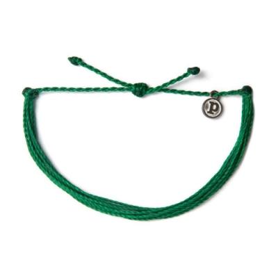 Pura Vida 美國手工 SOLID DARK GREEN 深綠色基本繽紛款可調式衝浪手環