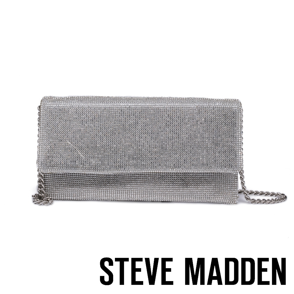 STEVE MADDEN-BRITZ 時尚閃鑽翻蓋斜背鍊包-銀色