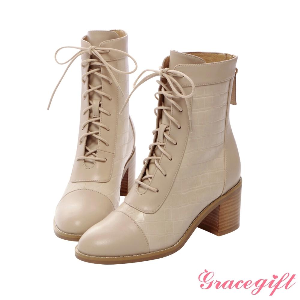 Grace gift X紀卜心-聯名異材質綁帶中跟中靴 杏