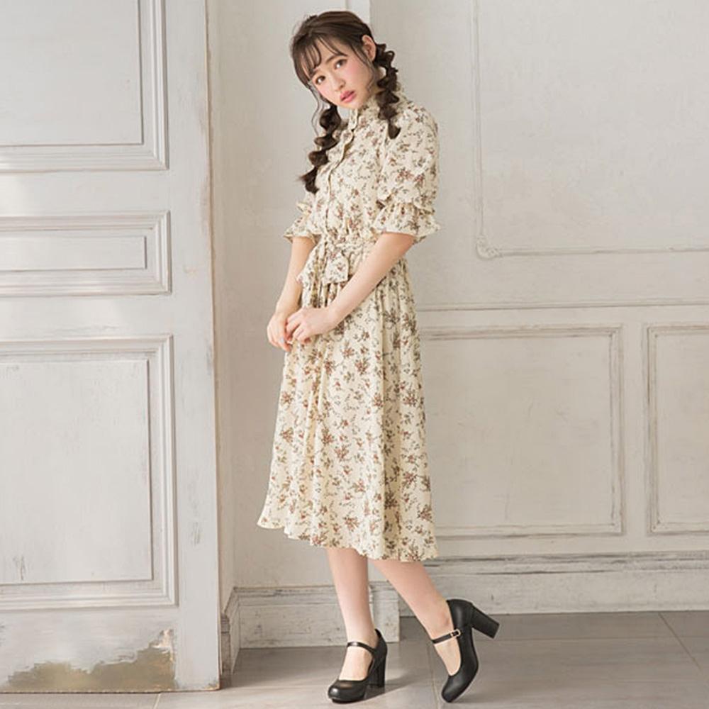 夢展望 荷葉立領公主袖洋裝-M.L(共六色)