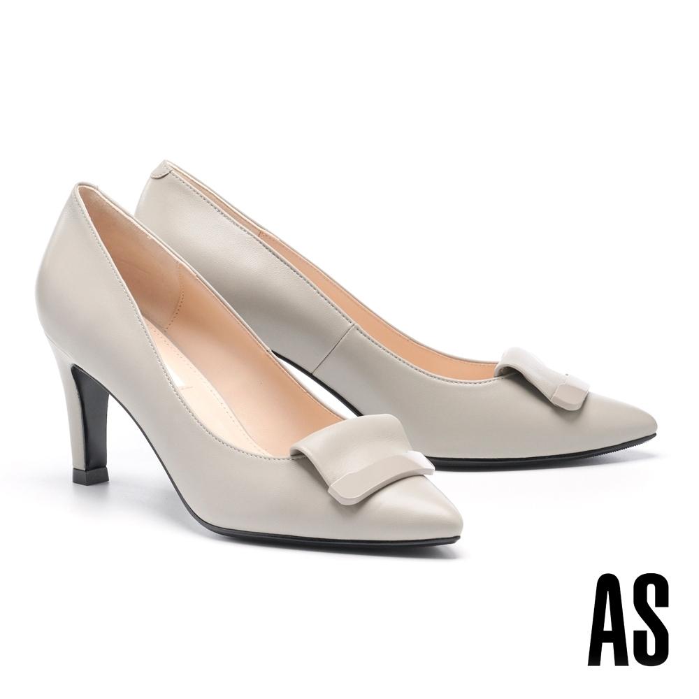 高跟鞋 AS 鏡面烤漆反折帶釦羊皮尖頭高跟鞋-灰