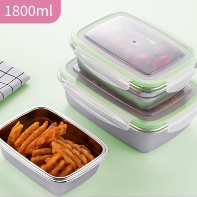韓式超好扣304不鏽鋼密封保鮮盒-1800ml