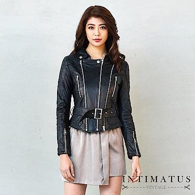 INTIMATUS 真皮 華麗騎士風斜紋雙拉鍊腰帶小羊皮皮衣 經典黑
