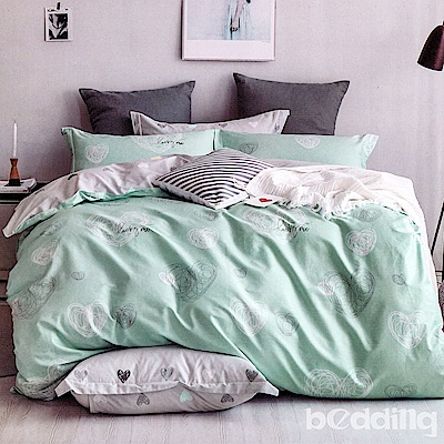 BEDDING-專櫃純棉3.5尺單人薄式床包涼被三件組-心跳-藍