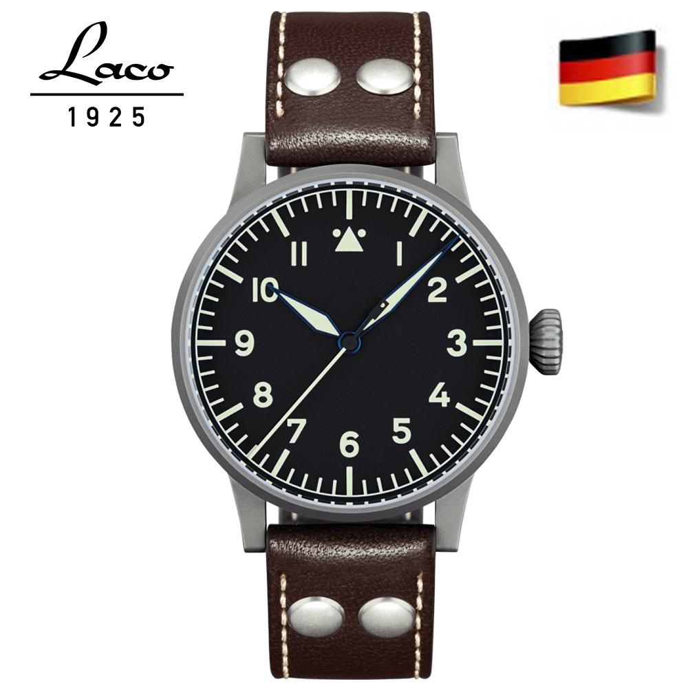 Laco朗坤 德國進口 真皮夜光瑞士自動機械機芯男士表 861748-黑/42mm
