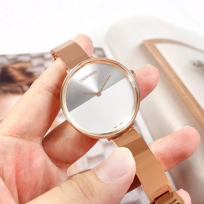CK 晨曦系列 優雅迷人 超薄 手環式 不鏽鋼手錶-銀白x鍍玫瑰金/38mm