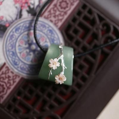 東方美學古典東陵玉貝殼花朵純銀項鍊-設計所在