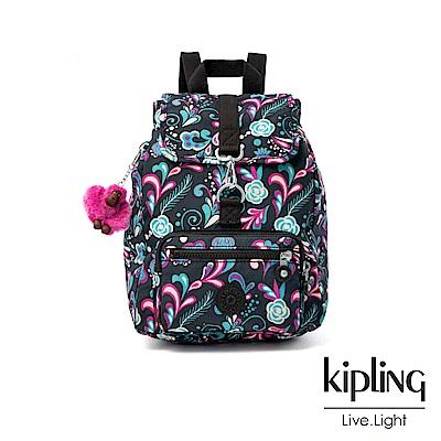 Kipling 繽紛奇想叢林圖騰特殊扣環後背包-RESOR