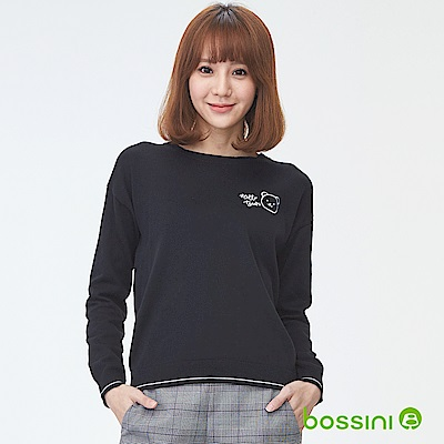 bossini女裝-圓領針織線衫02黑