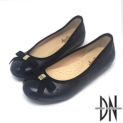 DN 芭蕾女伶 素面舒適蝴蝶結娃娃鞋-黑