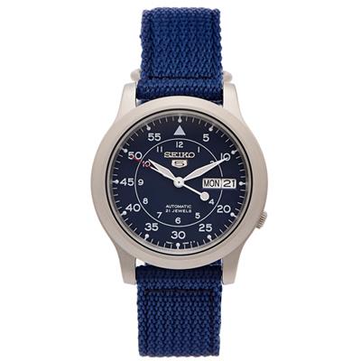 SEIKO 5號盾牌軍藍色帆布機械手錶(SNK807K2)-藍面X藍色/37mm