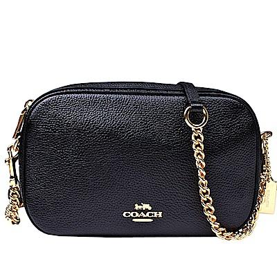 【COACH】馬車標誌 荔枝皮格紋皮革鏈袋斜背包(黑色)