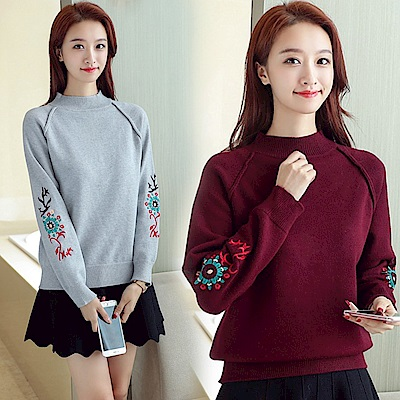 純色刺繡針織毛衣-共5色(F可選)   NUMI 森