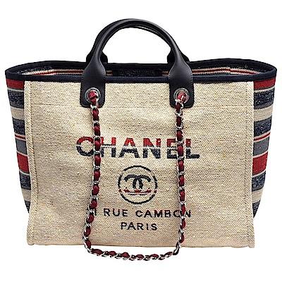 CHANEL Deauville雙C LOGO條紋帆布牛皮飾邊銀鍊兩用購物包_中-米X酒紅