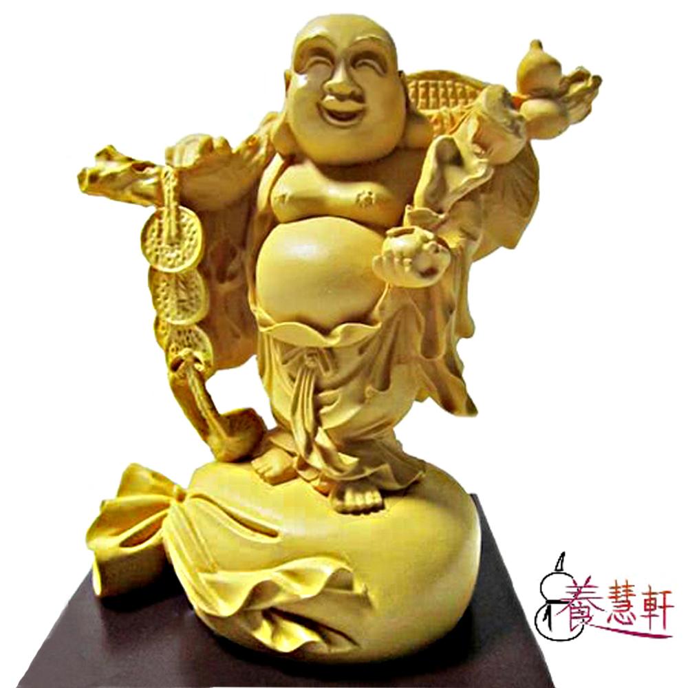養慧軒 金剛砂陶土精雕佛像 財神彌勒(木色)