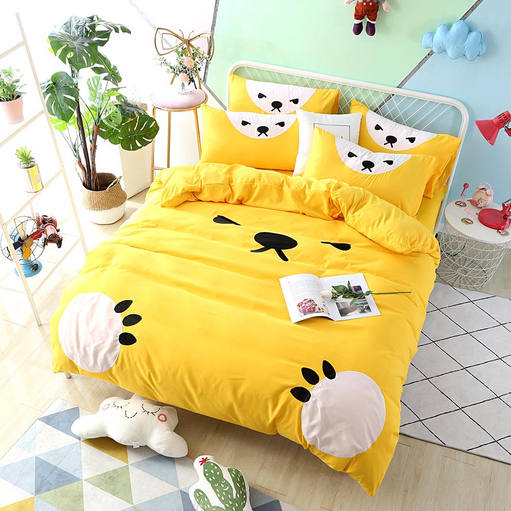 HUEI生活提案 柔絲絨被套床包三件組 單人 熊愛睏黃
