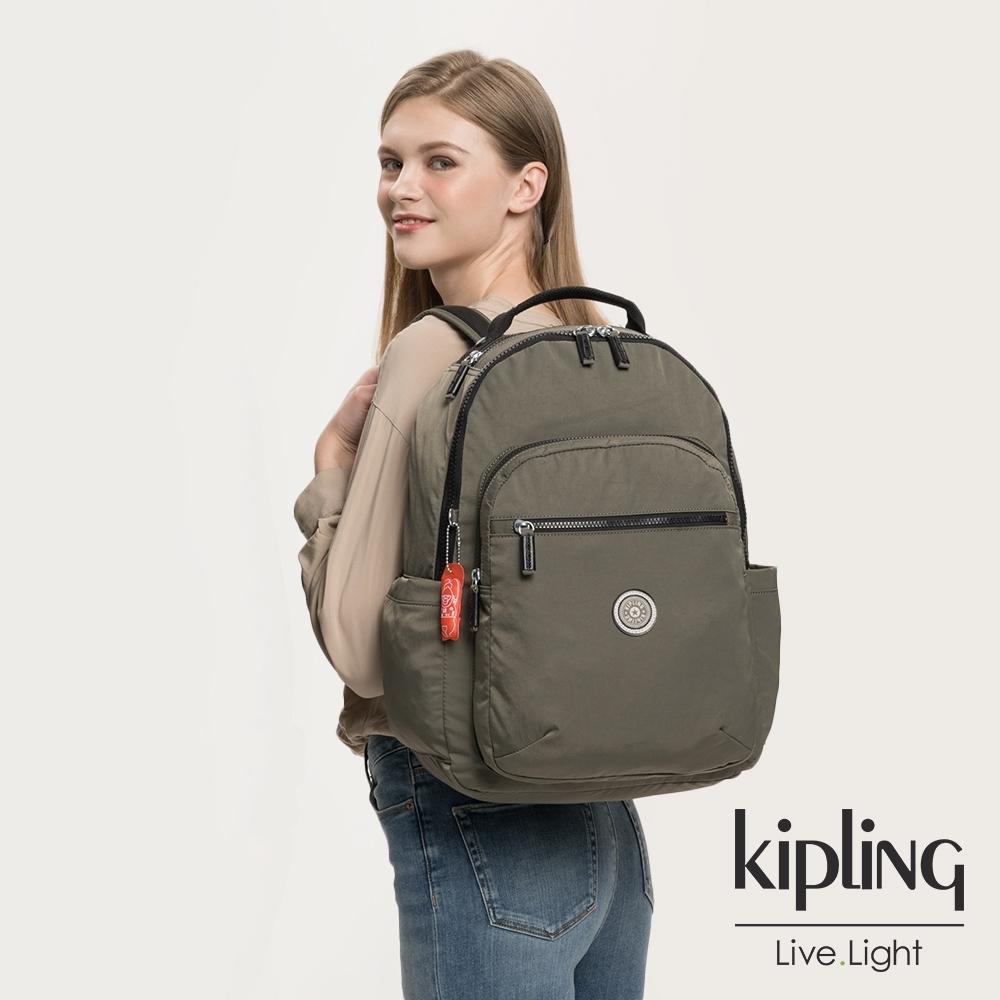 Kipling 率性深褐軍綠機能手提後背包-SEOUL