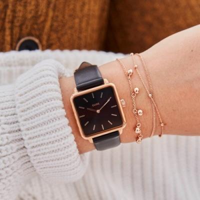 CLUSE La Tetragone 方框腕錶(玫瑰金框/黑錶面/黑皮革錶帶)28.5mm