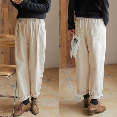 9坑純棉燈芯絨寬鬆褲子休閒褲-設計所在
