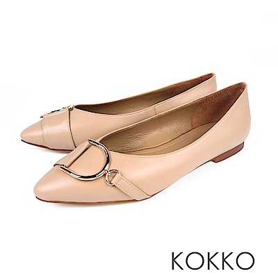 KOKKO - 極度舒適尖頭V口羊皮平底鞋- 輕裸膚