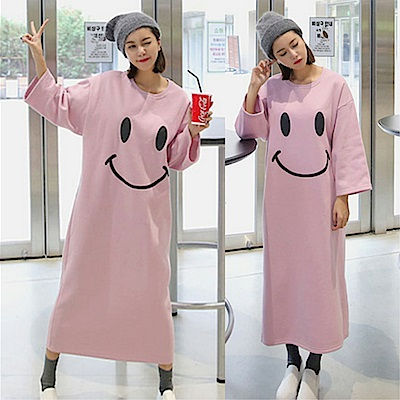 DABI 韓國學院風粉笑臉牛奶絲雙面厚長袖洋裝