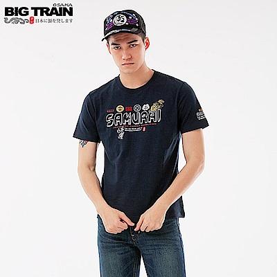 BigTrain 武將文字圓領短袖-男-深藍