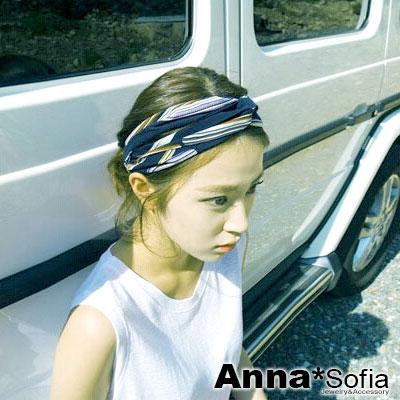 AnnaSofia 仙人掌刺紋交叉結 彈性髮飾寬髮帶(藏藍底系)