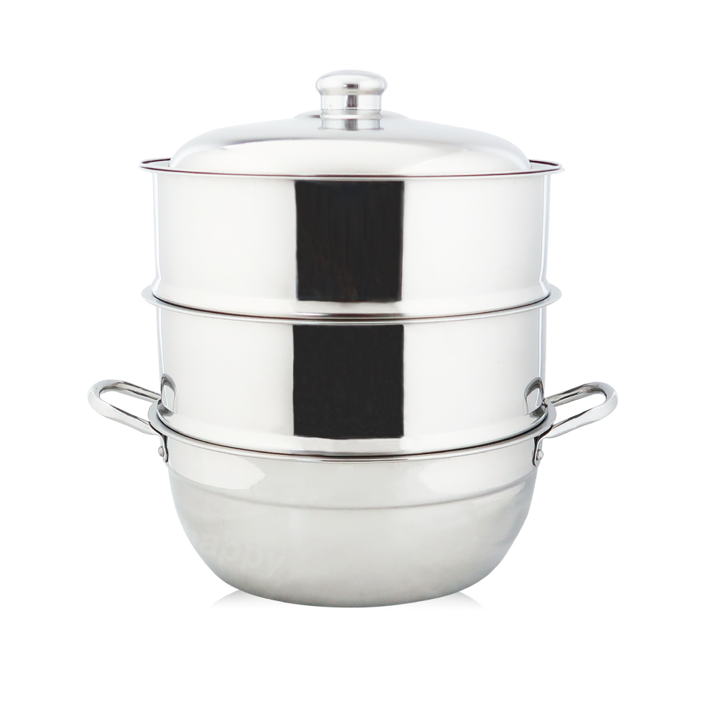 萬得威304不鏽鋼蒸籠組湯鍋26cm二入蒸盤