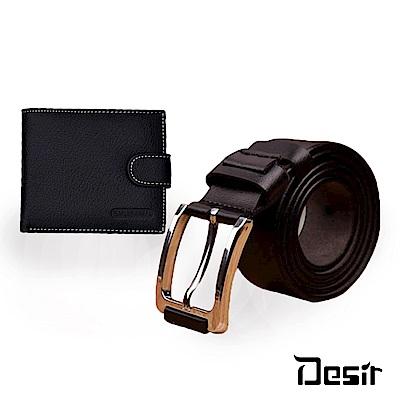 Desir-歐美真皮牛皮多功能超值二件組(短夾+皮帶)