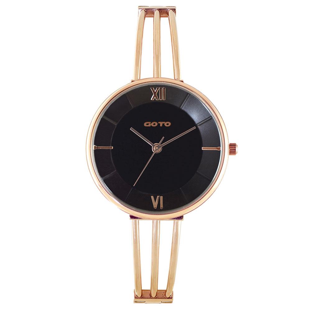 GOTO Marine 海洋系列時尚手錶-IP玫x黑/33mm
