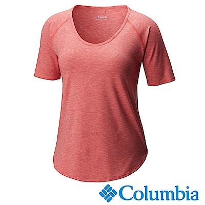 Columbia哥倫比 女款-防曬50快排短袖上衣-粉紅UAR10710PK