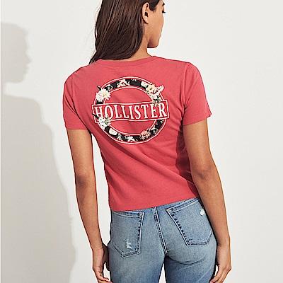 海鷗 Hollister HCO 經典貼字夏日風情短版短袖T恤(女)-粉色