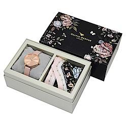 Olivia Burton 英倫復古手錶 Dusty Pink皮革錶帶X花卉絲巾禮盒組