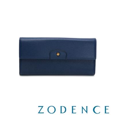 ZODENCE CUFF進口牛皮袖釦設計單層長夾 藍色