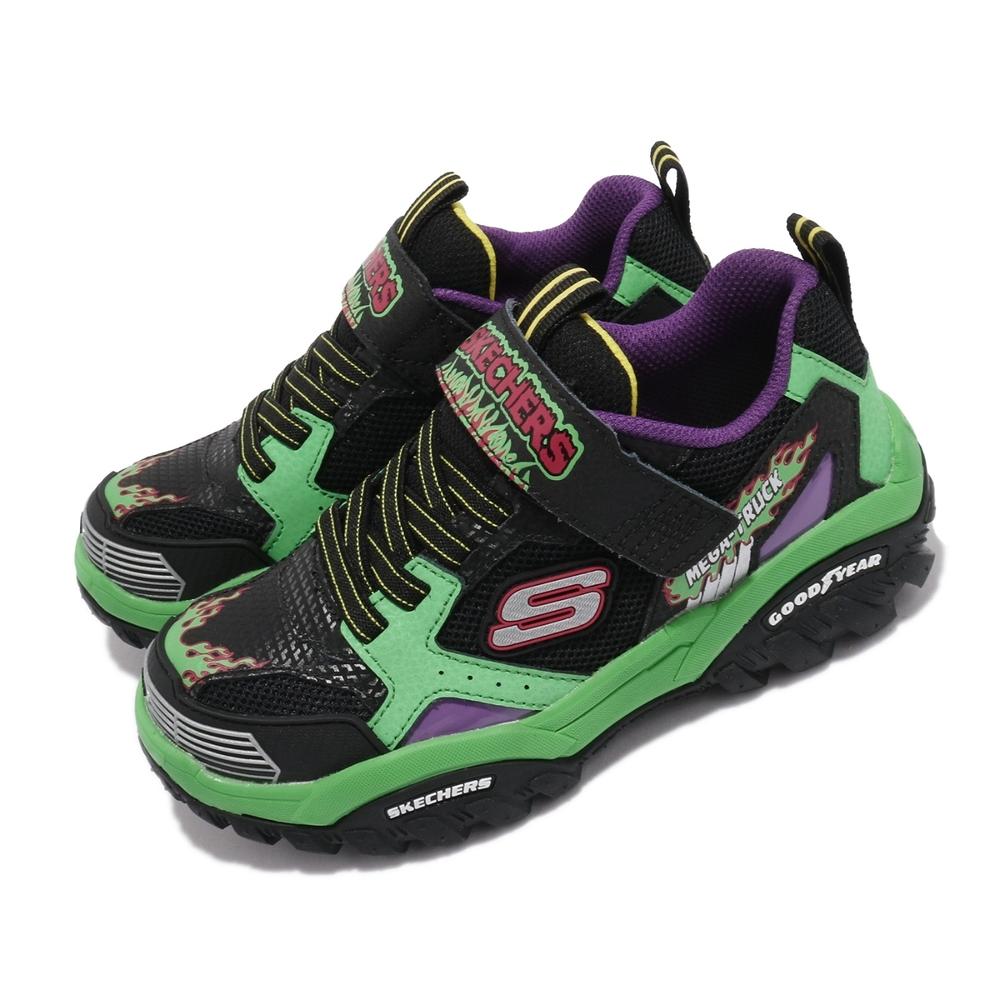 Skechers 休閒鞋 Turbo Speed 童鞋 怪獸卡車 輕量 避震 緩衝 固特異輪胎底 黑 綠 403760LBKMT