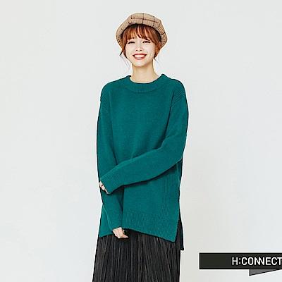 H:CONNECT 韓國品牌 女裝-圓領側開岔毛衣-綠