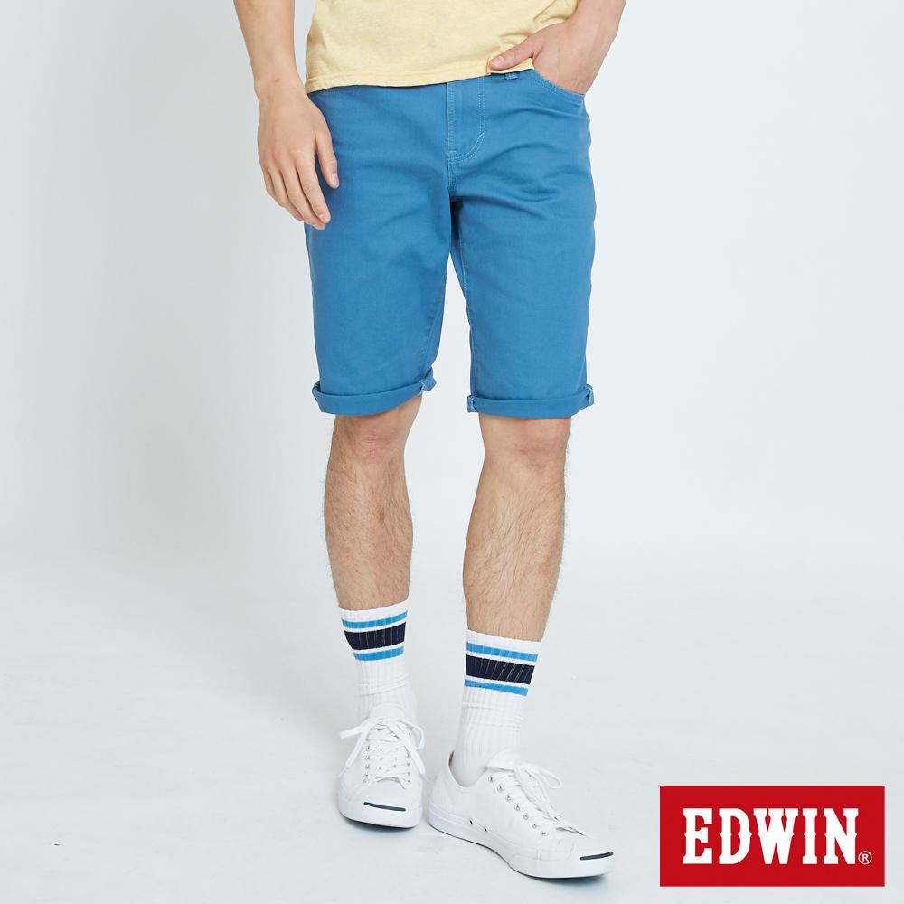 EDWIN 503休閒基本五袋短色褲-男-藍色