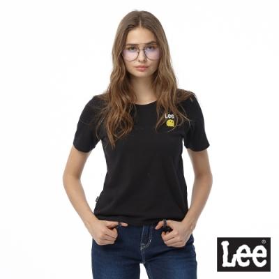 LEE X SMILEY聯名短袖圓領T恤 女 黑 寬短版