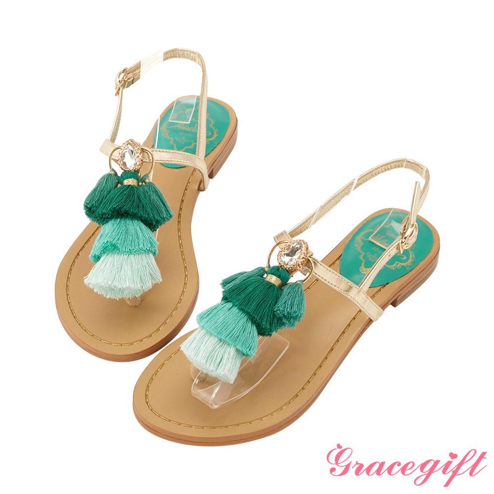 Disney collection by gracegift茉莉流蘇T字夾腳涼鞋 綠