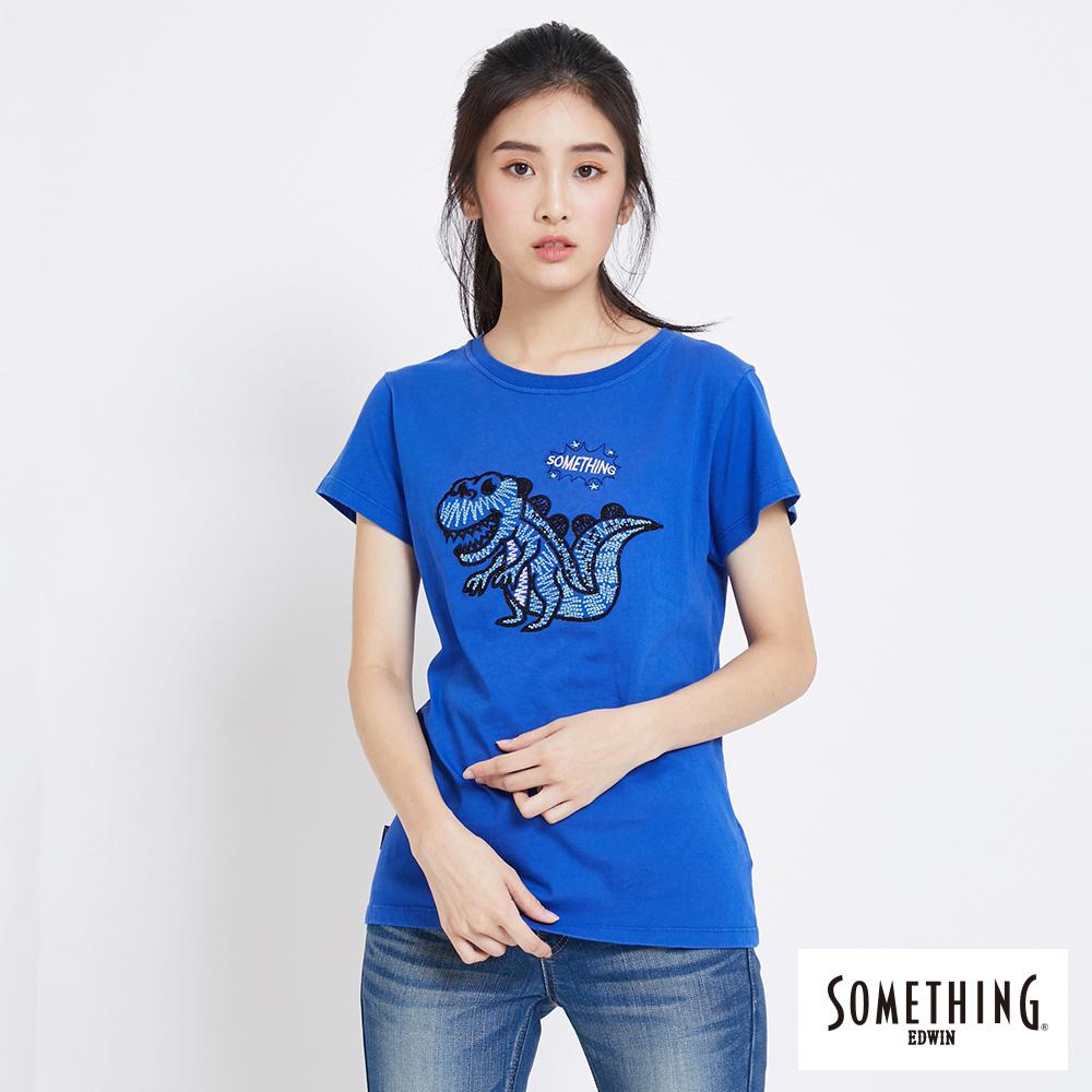 SOMETHING 趣味刺繡恐龍圓領T恤-女-藍色