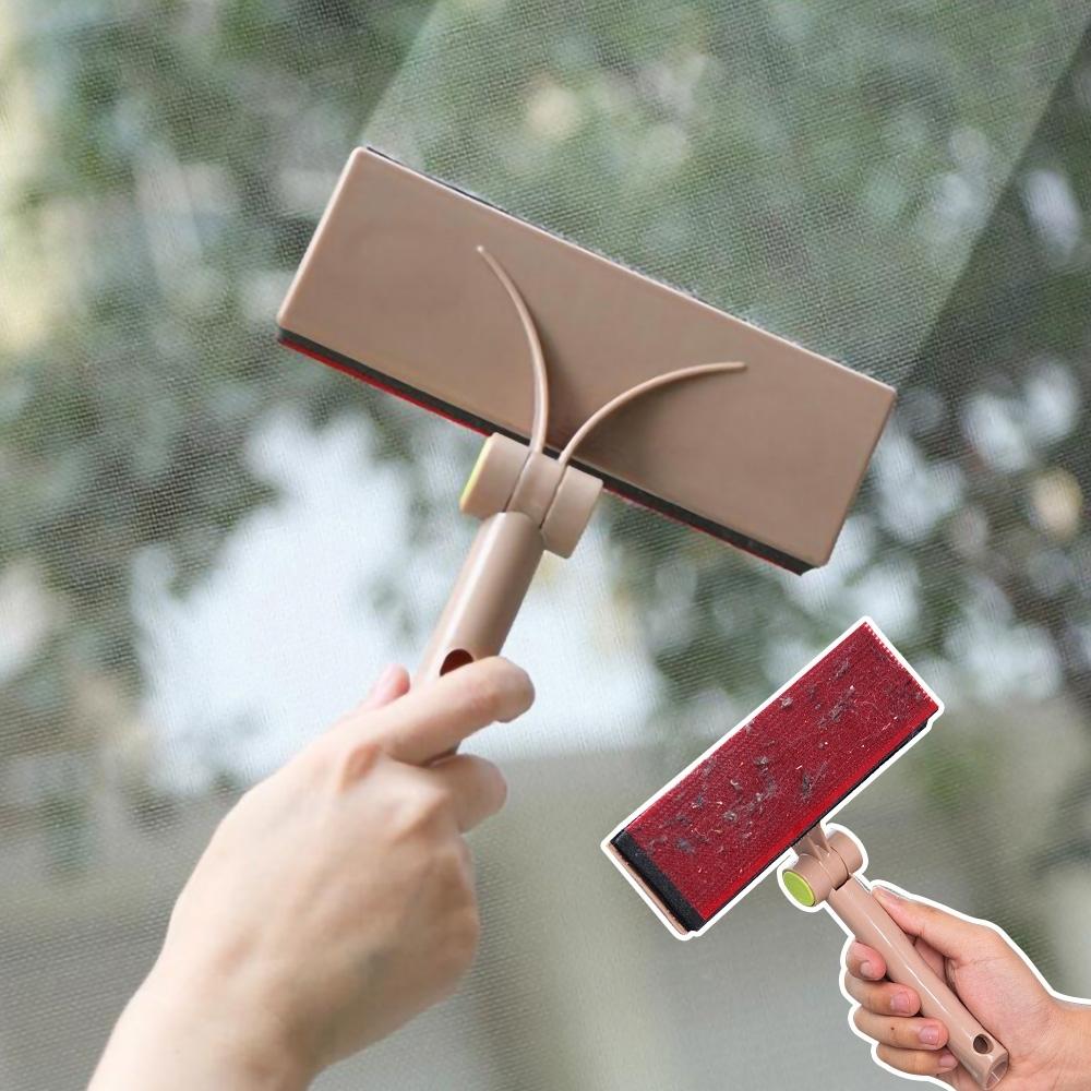 (2入)EZlife可調角度紗窗地毯沙發清潔刷(顏色隨機出貨)贈粉彩瀝水架1個