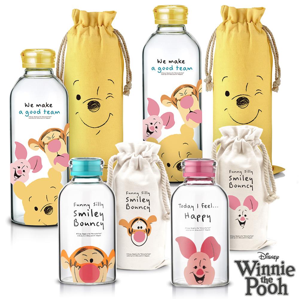 [限定組][買二送二] 迪士尼 微笑小豬、跳跳虎玻璃瓶620ml 送 微笑維尼玻璃瓶2入