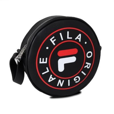 Fila 斜背包 Shoulder Bag 男女款 斐樂 小圓包 外出 輕便 皮質 黑 白 紅 BMU3012BK